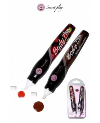 2 stylos comestibles Fraise et Chocolat - Jeux coquins