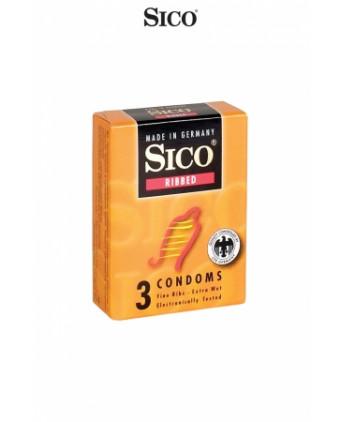 3 préservatifs Sico RIBBED - Préservatifs