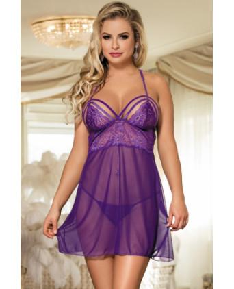 Nuisette sexy décolletée violette - Nuisettes sexy