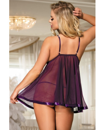Babydoll mauve transparente - Nuisettes sexy
