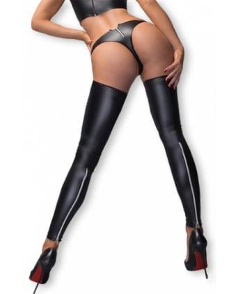 Bas et string F163 zips argent - Lingerie vinyle femme