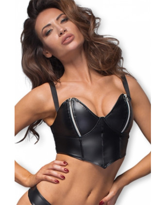 Top sexy F165 zips argent - Lingerie vinyle femme