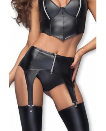 Porte-jarretelles F166 zip argent - Lingerie vinyle femme