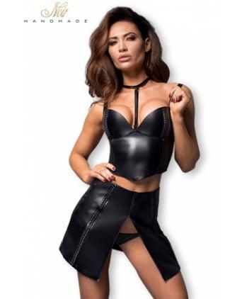 Jupe courte F171 faux cuir zipée - Jupes sexy