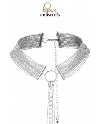 Collier en chainettes métalliques argentées - Fetish et Glamour