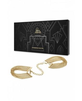 Menottes de mailles métalliques dorées - Fetish et Glamour