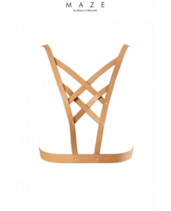 Harnais décolleté croisé marron - Maze - Fetish et Glamour