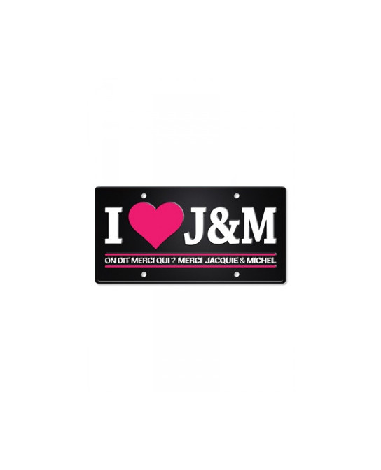 Plaque métal I love J&M - Déco Jacquie & Michel