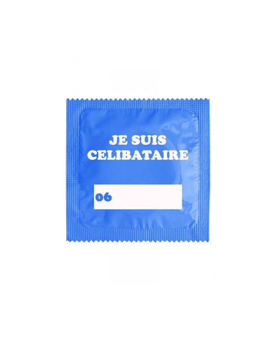 Préservatif humour - Je Suis Célibataire Bleu - Préservatifs humoristiques