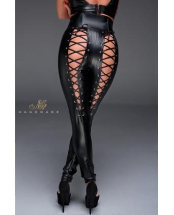 Pantalon taille haute avec laçage F148 - Lingerie vinyle femme