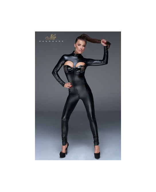 Combinaison wetlook F149 - Lingerie vinyle femme