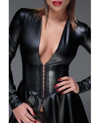 Minirobe corset wet look F154 - Lingerie vinyle femme