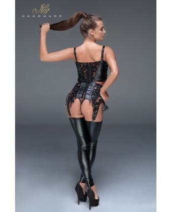 Jambières avec dentelle et laçages F145 - Lingerie vinyle femme