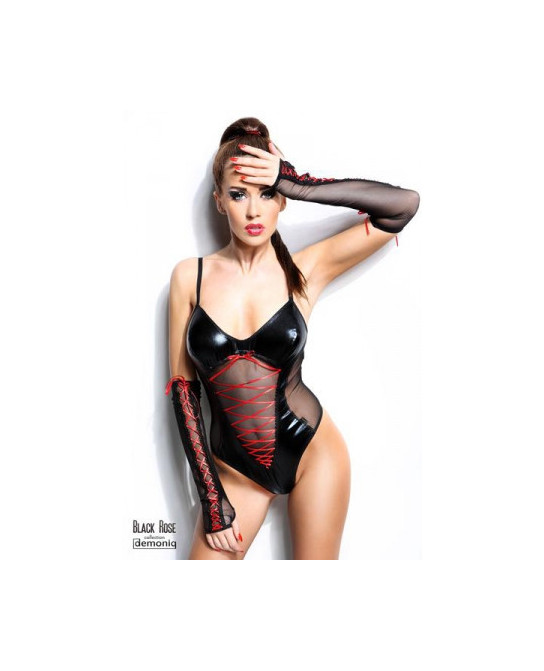 Body Evelyne - Black Rose - Lingerie vinyle femme