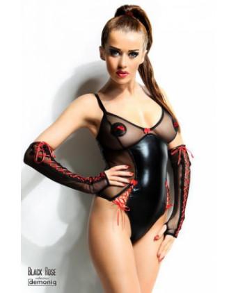 Body Hannah et gants - Black Rose - Lingerie vinyle femme
